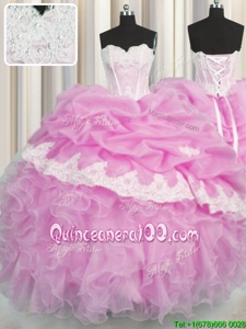 Pick Ups Sweetheart Sleeveless Lace Up Ball Gown Prom Dress Pink Organza