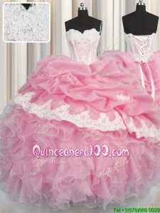 Designer Pick Ups Ball Gowns Quinceanera Gowns Rose Pink Sweetheart Organza Sleeveless Floor Length Lace Up