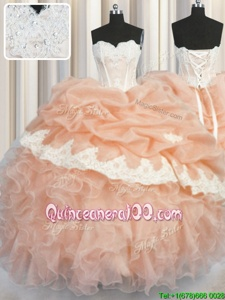 Low Price Peach Sleeveless Appliques and Ruffles and Pick Ups Floor Length Quinceanera Dress