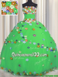 Enchanting Green Lace Up Quinceanera Dresses Hand Made Flower Sleeveless Floor Length