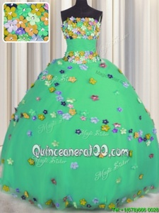 Great Turquoise Tulle Lace Up Ball Gown Prom Dress Sleeveless Floor Length Hand Made Flower