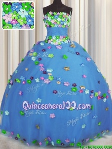 Affordable Strapless Sleeveless Quinceanera Dresses Floor Length Hand Made Flower Blue Tulle