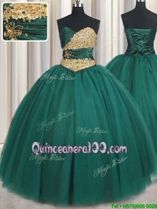 Cute Peacock Green Tulle Lace Up Sweetheart Sleeveless Floor Length Sweet 16 Dresses Beading and Appliques