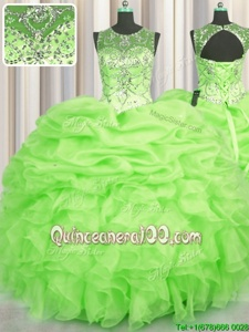 Attractive See Through Floor Length Yellow Green Quinceanera Dresses Scoop Sleeveless Lace Up