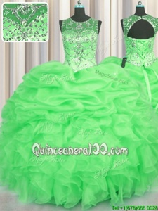 Top Selling See Through Floor Length Lace Up Quinceanera Dress Spring Green and In forMilitary Ball and Sweet 16 and Quinceanera withBeading and Ruffles and Pick Ups