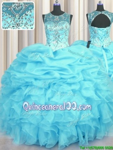 Flirting See Through Aqua Blue Scoop Lace Up Beading and Ruffles and Pick Ups Quinceanera Gowns Sleeveless