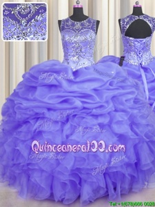 Exceptional See Through Lavender Lace Up Quinceanera Dress Beading and Ruffles and Pick Ups Sleeveless Floor Length