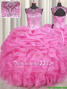 Suitable See Through Scoop Sleeveless Organza Vestidos de Quinceanera Beading and Ruffles and Pick Ups Lace Up