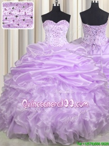 Flare Lavender Lace Up Sweetheart Beading and Ruffles and Pick Ups Quinceanera Gowns Organza Sleeveless Brush Train