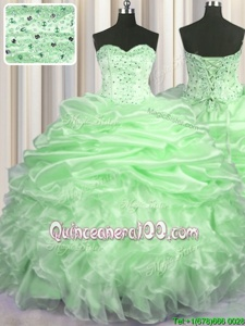 Noble Pick Ups With Train Ball Gowns Sleeveless Spring Green Sweet 16 Dress Brush Train Lace Up
