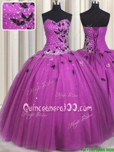 Gorgeous Fuchsia Lace Up Sweet 16 Quinceanera Dress Beading and Appliques Sleeveless Floor Length