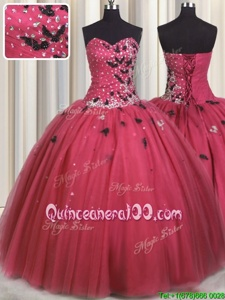 Cute Coral Red Lace Up Sweetheart Beading and Appliques Sweet 16 Dresses Tulle Sleeveless