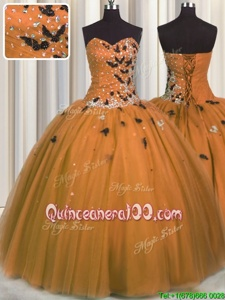 Custom Made Sleeveless Beading and Appliques Lace Up Ball Gown Prom Dress