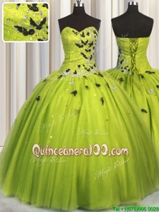 Fashion Yellow Green Tulle Lace Up Sweetheart Sleeveless Floor Length Quince Ball Gowns Beading and Appliques