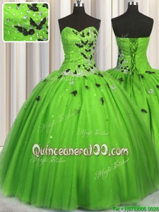 Smart Sweetheart Sleeveless Tulle Quince Ball Gowns Beading and Appliques Lace Up