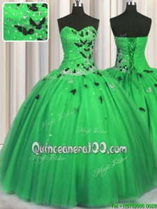 Flirting Green Lace Up Sweetheart Beading and Appliques Sweet 16 Quinceanera Dress Tulle Sleeveless