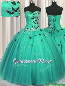 Nice Sleeveless Tulle Floor Length Lace Up Sweet 16 Quinceanera Dress inTurquoise forSpring and Summer and Fall and Winter withBeading and Appliques
