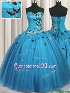 Customized Floor Length Baby Blue Quinceanera Dress Sweetheart Sleeveless Lace Up