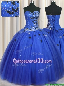 Admirable Royal Blue Sleeveless Tulle Lace Up Ball Gown Prom Dress forMilitary Ball and Sweet 16 and Quinceanera