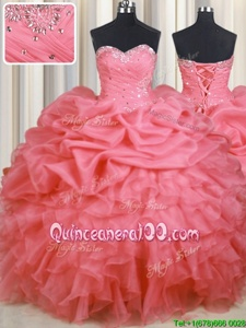 Cheap Watermelon Red Ball Gowns Organza Sweetheart Sleeveless Beading and Ruffles and Ruching and Pick Ups Floor Length Lace Up 15 Quinceanera Dress