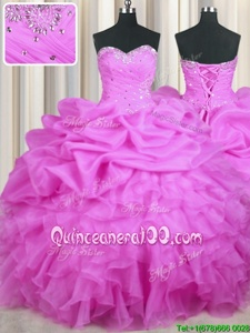Excellent Lilac Ball Gowns Organza Sweetheart Sleeveless Beading and Ruffles and Sequins and Ruching Floor Length Lace Up Sweet 16 Dresses