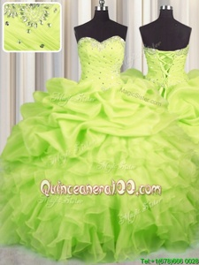 Gorgeous Floor Length Yellow Green 15 Quinceanera Dress Organza Sleeveless Spring and Summer and Fall and Winter Beading and Ruffles and Ruching and Pick Ups