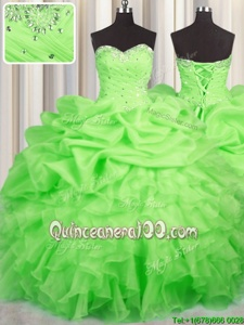 New Style Spring Green Sweetheart Lace Up Beading and Ruffles and Ruching and Pick Ups Sweet 16 Dress Sleeveless