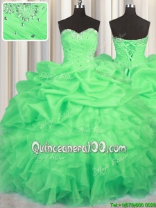 Elegant Floor Length Lace Up Quince Ball Gowns Green and In forMilitary Ball and Sweet 16 and Quinceanera withBeading and Ruffles and Ruching and Pick Ups