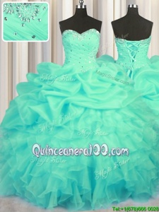 Cute Floor Length Turquoise 15 Quinceanera Dress Organza Sleeveless Spring and Summer and Fall and Winter Beading and Ruffles and Ruching and Pick Ups