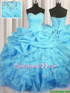 High Class Sleeveless Beading and Ruffles and Ruching and Pick Ups Lace Up Quinceanera Dress
