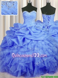 Luxury Organza Sweetheart Sleeveless Lace Up Beading and Ruffles and Ruching and Pick Ups Quince Ball Gowns inBlue