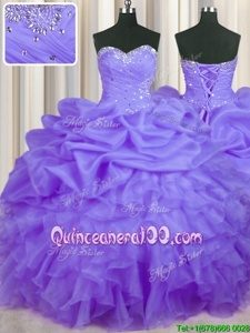 Great Lavender Organza Lace Up Quinceanera Dress Sleeveless Floor Length Beading and Ruffles and Pick Ups