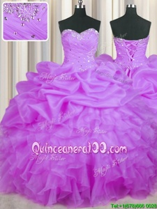 Flirting Organza Sweetheart Sleeveless Lace Up Beading and Ruffles and Pick Ups Ball Gown Prom Dress inPurple