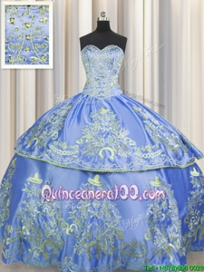 Best Beading and Embroidery 15th Birthday Dress Blue Lace Up Sleeveless Floor Length