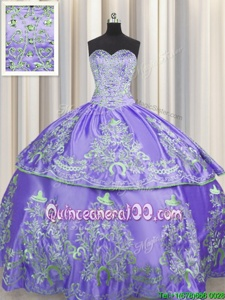 Most Popular Lavender Sweetheart Neckline Beading and Embroidery Quince Ball Gowns Sleeveless Lace Up