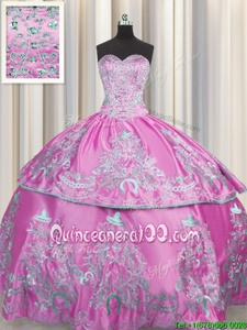 Enchanting Lilac Sleeveless Beading and Embroidery Floor Length Quinceanera Gown