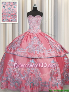 Floor Length Rose Pink Sweet 16 Dress Taffeta Sleeveless Spring and Summer and Fall and Winter Beading and Embroidery