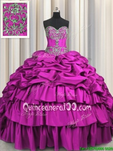 Extravagant Brush Train Spring and Summer and Fall and Winter Taffeta Sleeveless Floor Length Sweet 16 Quinceanera Dress andBeading and Embroidery and Ruffled Layers and Pick Ups