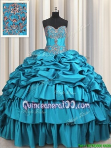 Fancy Beading and Embroidery and Ruffled Layers and Pick Ups Quinceanera Gowns Teal Lace Up Sleeveless Brush Train