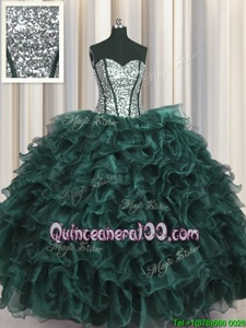Visible Boning Sleeveless Lace Up Floor Length Ruffles and Sequins Ball Gown Prom Dress