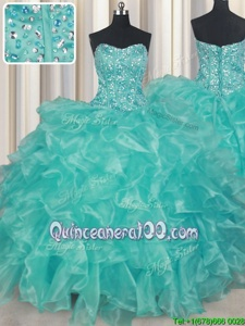 Noble Sweetheart Sleeveless Lace Up Sweet 16 Dress Turquoise Organza