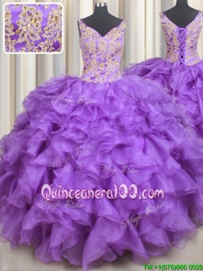 Fitting Lavender Ball Gowns Sweetheart Sleeveless Organza Floor Length Lace Up Beading and Appliques and Ruffles Sweet 16 Dresses