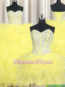 Stunning Three Piece Ball Gowns Quinceanera Dress Yellow Sweetheart Organza Sleeveless Floor Length Lace Up