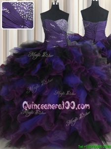 Graceful Multi-color Ball Gowns Tulle Sweetheart Sleeveless Beading and Ruffles Floor Length Lace Up Quinceanera Gown