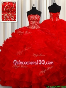 Graceful Red Lace Up Strapless Beading and Embroidery and Ruffles Sweet 16 Dress Organza Sleeveless