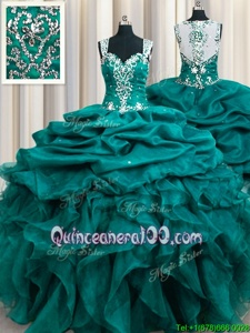 Artistic Teal Ball Gowns Straps Sleeveless Organza Floor Length Zipper Beading and Ruffles and Pick Ups Quinceanera Dress