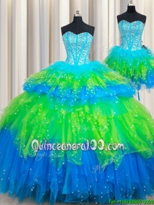 Custom Made Three Piece Sleeveless Floor Length Beading and Ruffled Layers Lace Up Quinceanera Dress with Multi-color
