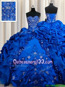 Royal Blue Sweetheart Lace Up Beading and Embroidery and Sequins and Pick Ups Quinceanera Gown Sleeveless