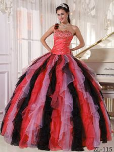 Beading Ruffled Colorful Dress for Quince with One Shoulder Plus