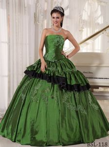 Appliqued Strapless Green Dresses 15 with Ruffles Custom Made